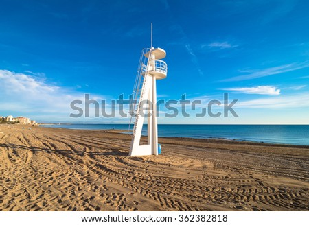 A large lifeguard watchtower on Torrevieja beach, Costa Blanca, Spain - stock photo