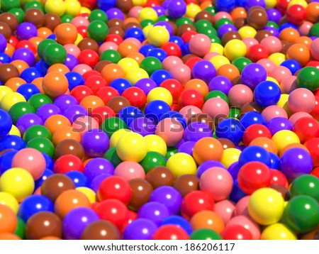 A large number of colorful glossy spheres with the sun reflecting