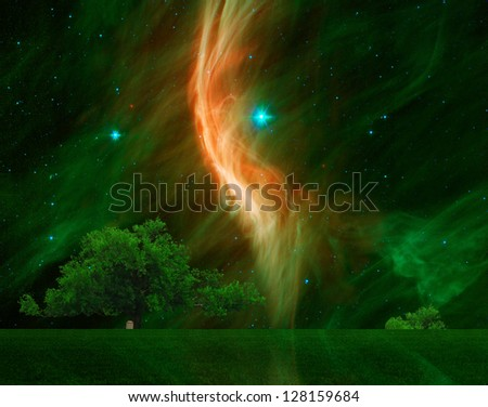 stock-photo-a-large-oak-tree-with-the-giant-star-zeta-ophiuchi-in-the-background-elements-of-this-image-128159684.jpg
