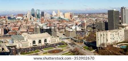 A large panoramic view of Kansas City, Missouri during the daytime - stock photo