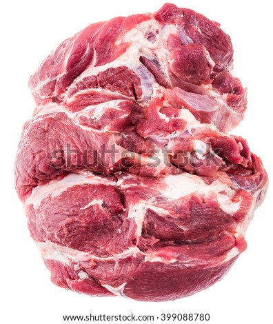 A large piece of raw meat fresh pork. Picnic shoulder butt part. 2.5 kg. Isolated on white background. - stock photo