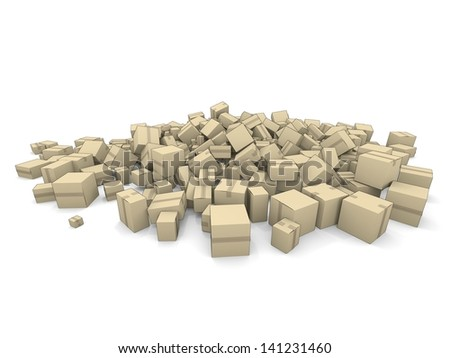 A large pile of cardboard boxes in a cartoon style - stock photo