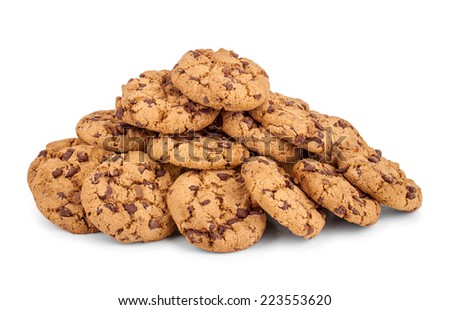 a large pile of chocolate chip cookies isolated on white