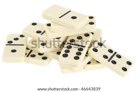 A large pile of dominoes isolated on a white background