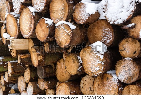 A large pile of snow covered logs - stock photo
