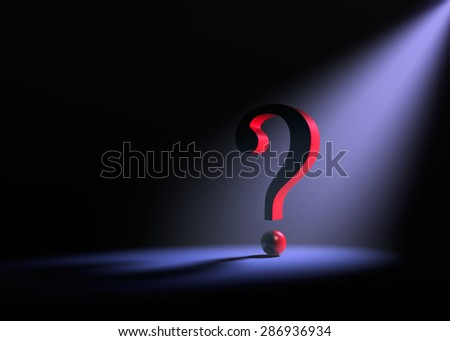 A large red question mark on a dark background is dramatically lit from behind by a  purple spotlight.