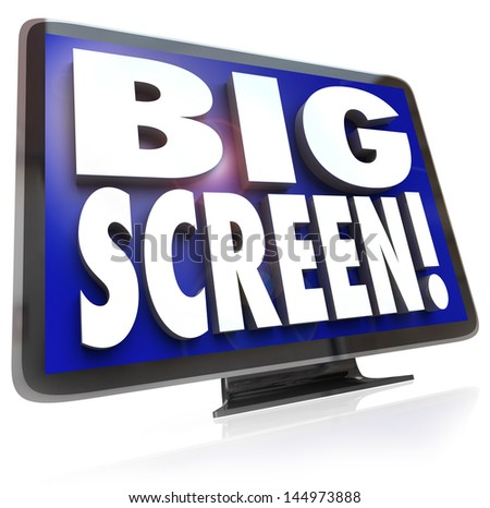 A large screen HDTV television with the words Big Screen on the screen, monitor or display to illustrate viewing options for home entertainment - stock photo