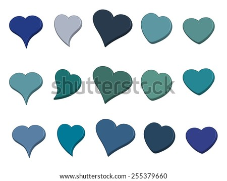 A large set of 3-D hearts in varied shades of blue - stock photo