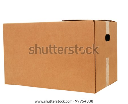 A large size of corrugated box isolated white - stock photo
