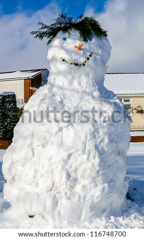 A large smiling snowman with hair made of fern tree leaves, bottle tops for eyes, stones for mouth and a carrot for a nose on an urban street - stock photo