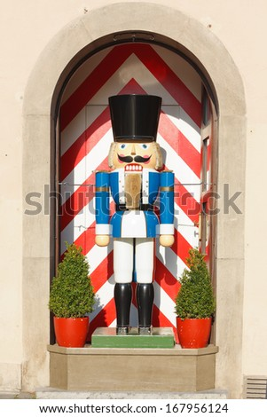 A large traditional toy soldier figurine in Rothenburg ob der Tauber, Germany - stock photo