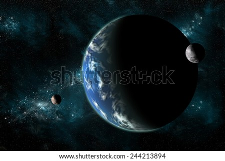 A large water covered planet with two moons alone in deep space. The galactic core serves as background while a nearby star illuminates the planetary group. Elements of this image furnished by NASA. - stock photo