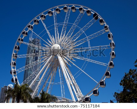 A large white Ferris Wheel with a skyscraper in the background is highlighted against a blue sky