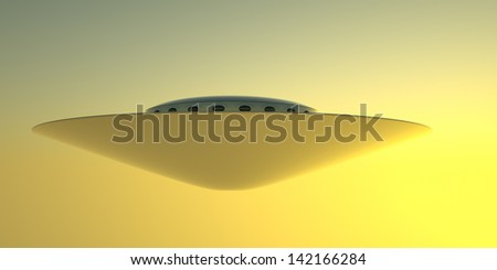 A large windowed mother-ship, as seen from below, hovering in the evening sky. 3D rendering. - stock photo
