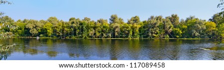 A late summer Dnieper branch panoramic view in Southern Ukraine - stock photo