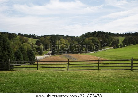 A late summer view of the field where the Woodstock festival was held in Bethel, New York. - stock photo