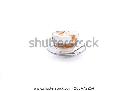 A Latte Coffee Isoalted coffee cup on white - stock photo