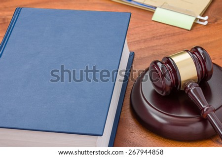 A law book with a gavel  - stock photo