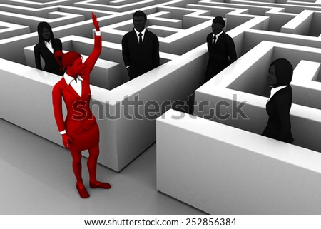 A Lead guides the team out of a maze. A skilled leader helps the team find their way out of a complex maze. - stock photo