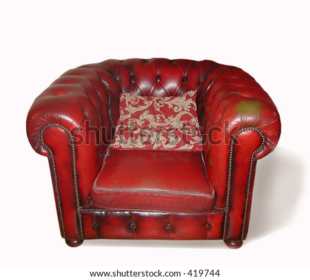 A leather arm-chair - stock photo