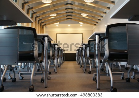 A lecture room that all are aligned