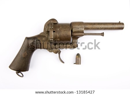 A Lefaucheux type pinfire revolver with 12 mm cartridge - stock photo