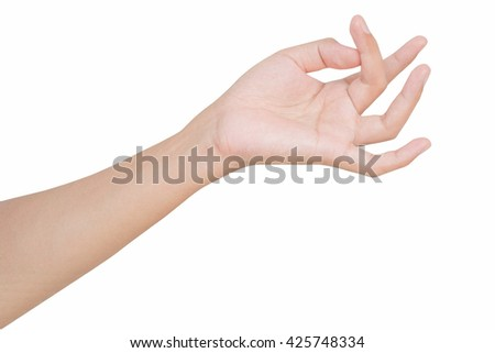 a left hand show muscle contraction, counting finger sign, counting number by finger, show palm and arm, isolated on white background - stock photo