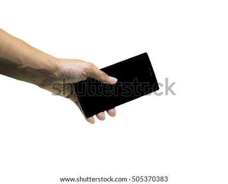 a left man hand grabbing android  mobile phone white isolated