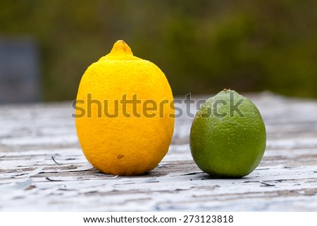 a lemon and a lime on wooden table with flaking paint  - stock photo