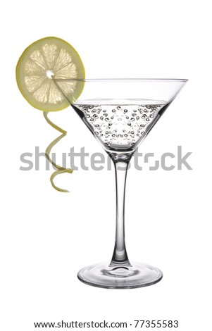 A Lemon Martini Cocktail on white background