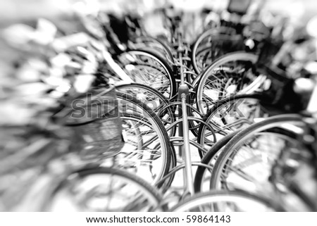 A lens blurred photo of a group of bikes - stock photo