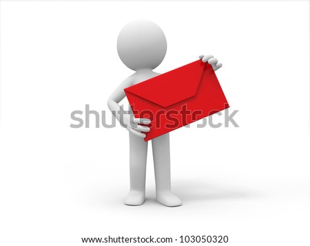 a letter/A 3d people is holding a letter - stock photo
