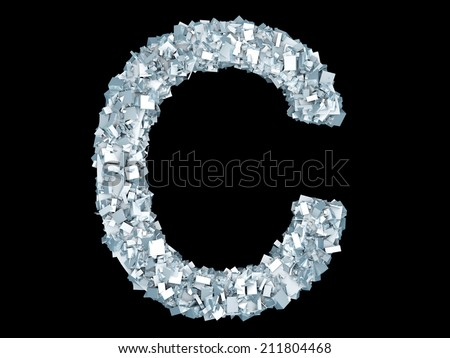 A letter C formed out of ice Crystals. - stock photo
