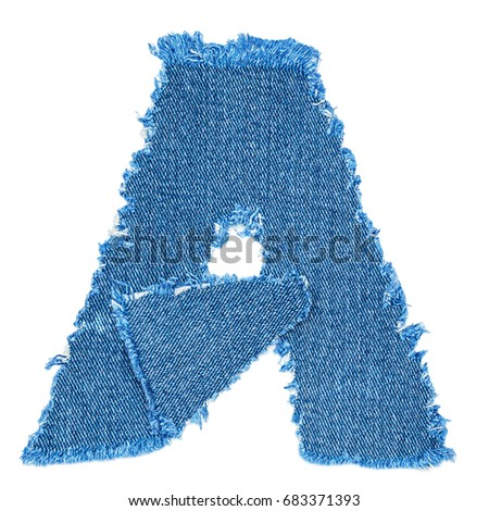 Letter cut denim fabric isolated on stock photo edit now shutterstock a letter cut from denim fabric isolated on white background ripped torn denim jeans frame spiritdancerdesigns Images