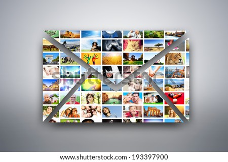 A letter, e-mail design element made of pictures, photographs of people, animals and places. Conceptual background