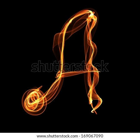 A letter in fire illustration - stock photo