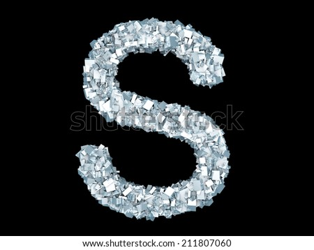 A letter S formed out of ice Crystals. - stock photo