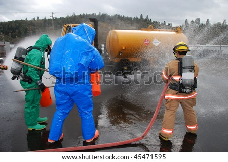 A- Level and Firefighter Protective Stream, Simulated herbicide spill from tank truck, Hazardous Materials Technician Weeks 3 and 4 class, Roseburg OR