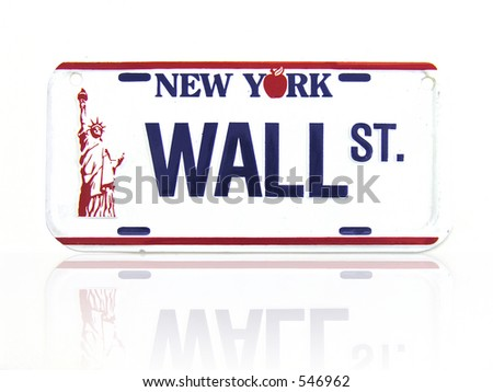 A license plate with a Wall Street theme - stock photo