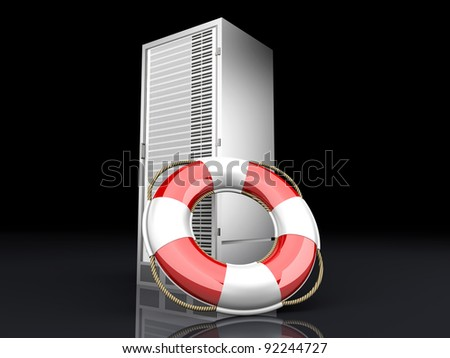 A life belt with a Server tower. 3d rendered Illustration. - stock photo