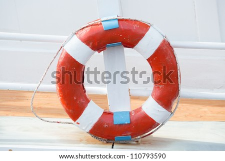 A life buoy for safety on the boat