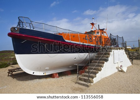 A Lifeboat at Land's End in Cornwall, England.