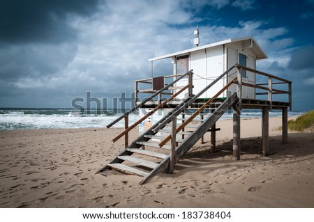A lifeguard station at Rantum on the island of Sylt. - stock photo