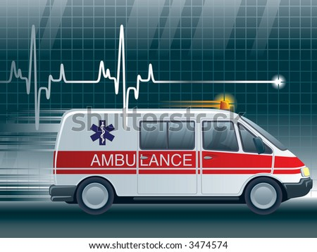 A lifeline in an electrocardiogram and an ambulance - stock photo