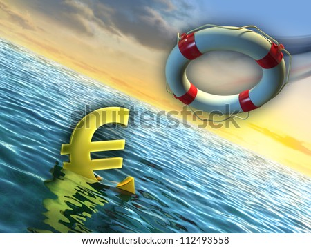A lifesaver used to rescue a sinking euro. Digital illustration. - stock photo