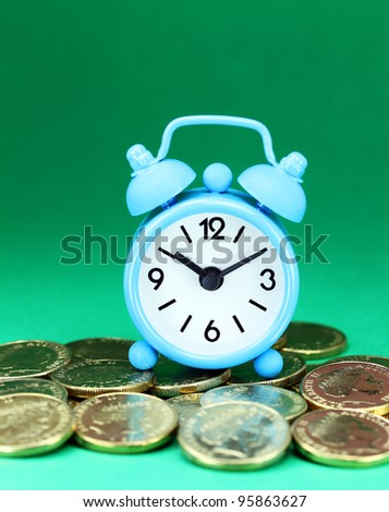 A light blue alarm clock placed on some golden coins with a pastel green background, asking the question how long before your investment matures?