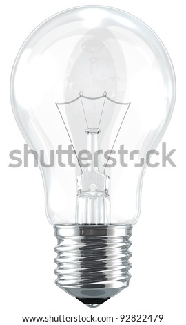 A light bulb isolated by the white background. - stock photo
