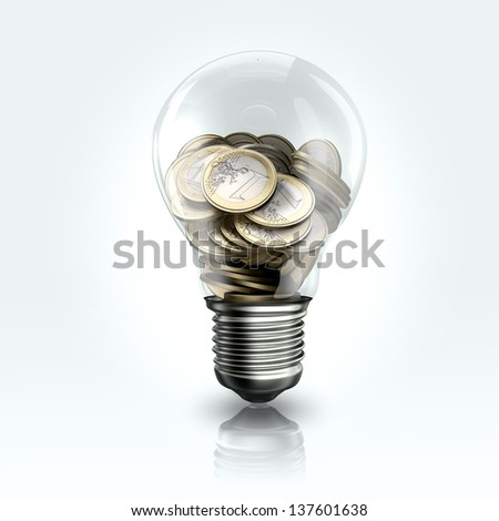 A light bulb with Euro coins inside