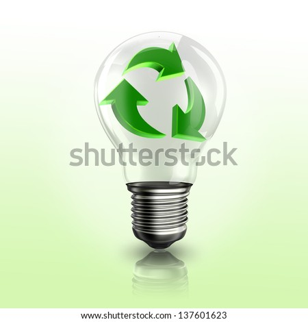 A light bulb with recyclable logo inside