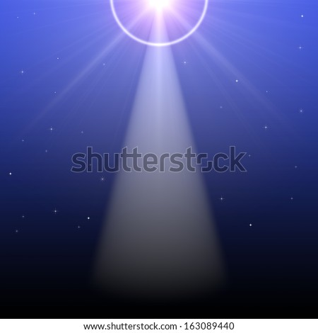 A light in the night sky with stars and anamorphic streaks creating a heavenly feeling.  - stock photo